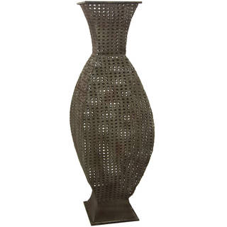 Handmade Antiqued Brown Square Wrought Iron Vase