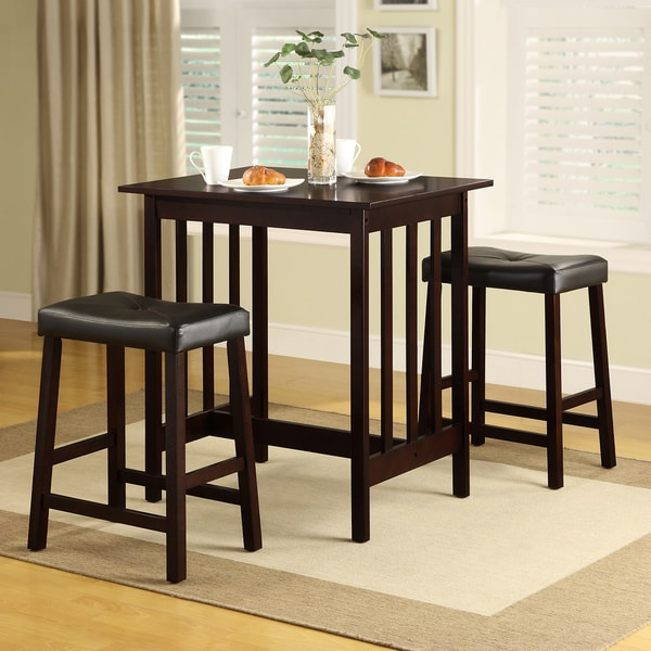 3 Pcs Modern Counter Height Dining Set Table And 2 Chairs: Shop TRIBECCA HOME Nova Espresso 3-piece Kitchen Counter
