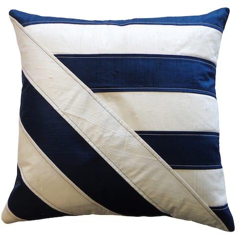 Jiti White Modern & Contemporary Stripe Cotton Accent Pillow - 12 x 20