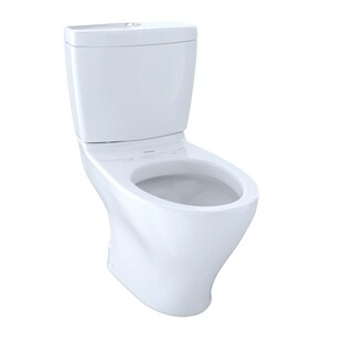 Toto Aquia II Two-Piece Elongated Dual-Max, Dual Flush 1.6 and 0.9 GPF Skirted Toilet CST416M#01 Cotton White