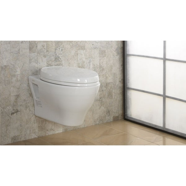 Toto Aquia Wall-Hung Elongated Toilet Bowl with Skirted Design and CeFiONtect, Cotton White (CT418FG#01)