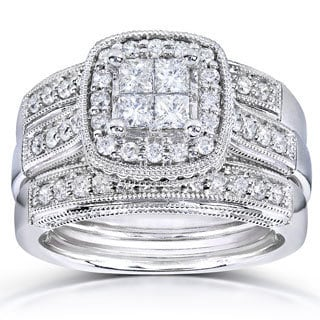 Annello by Kobelli 14k White Gold 7/8ct TDW Princess Quad Diamond 3-ring Miligrain Bridal Set