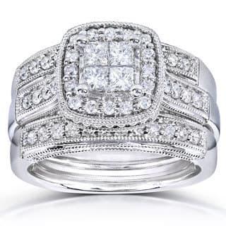 Annello by Kobelli 14k White Gold 7/8ct TDW Princess Quad Diamond 3-ring Miligrain Bridal Set