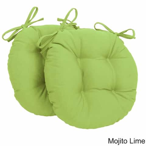 Blazing Needles Tufted Twill Round Chair Cushions (Set of 2) - 16 x 16