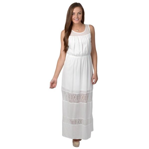 Hailey Jeans Co. Junior's Sleeveless Lace Detail Maxi Dress