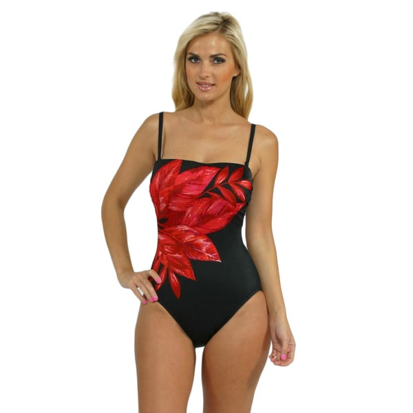 Miraclesuit 'Avanti' Red and Black Bandeau One-piece Swimsuit