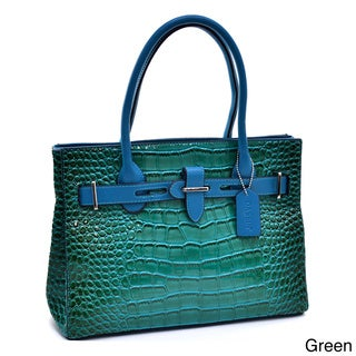 Link to Dasein Belted Patent Croc-embossed Satchel Similar Items in Shop By Style
