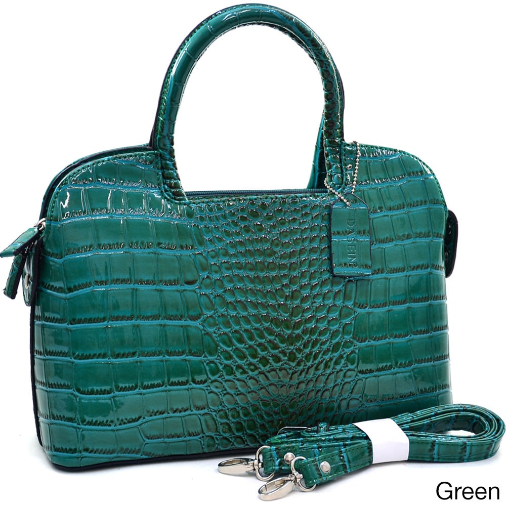 Dasein Classic Patent Croc-embossed Satchel (Green), Wome...
