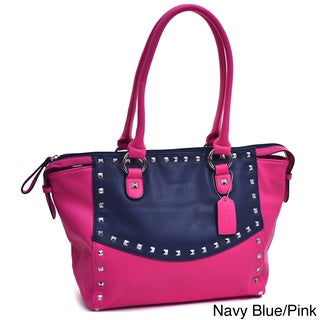 Dasein Two-tone Wide Pyramid Studded Shoulder Bag
