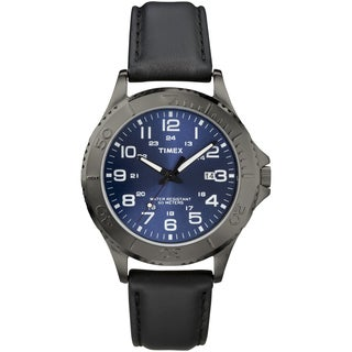 Timex Men's T2P392 Elevated Classics Dress Gunmetal Grey Case Black Watch