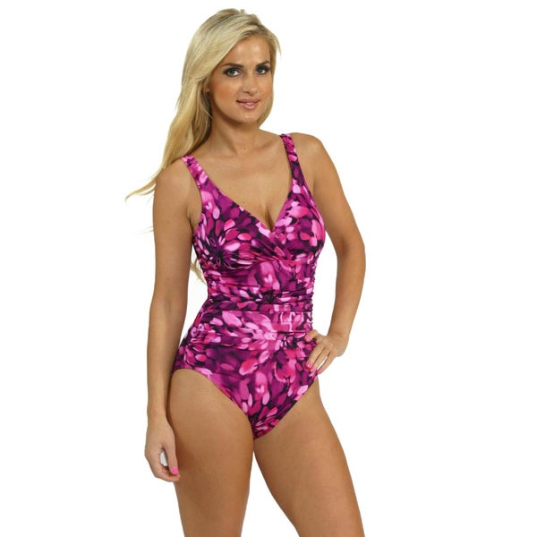 Miraclesuit Pink Floral Print Halter One-piece Swimsuit