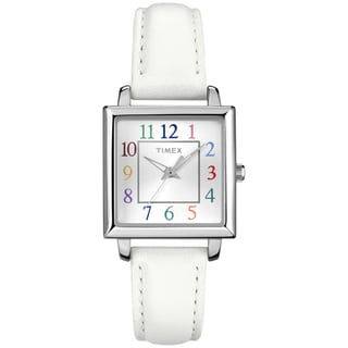 Timex Women's T2P3779J Elevated Classics Rectangle Multicolor Dial Leather Strap Watch