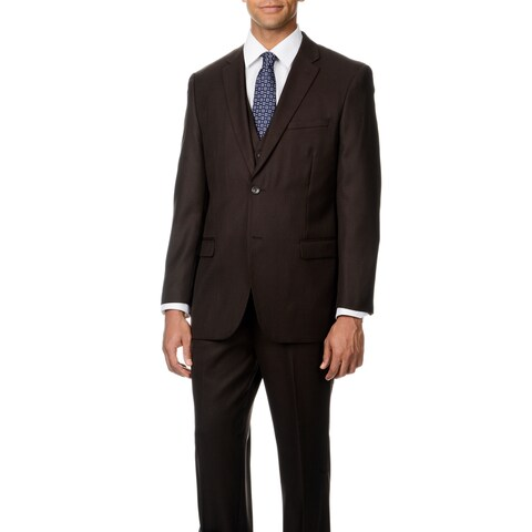 Caravelli Italy Men's 'Superior 150' Brown Shark Pattern 3-piece Vested Suit