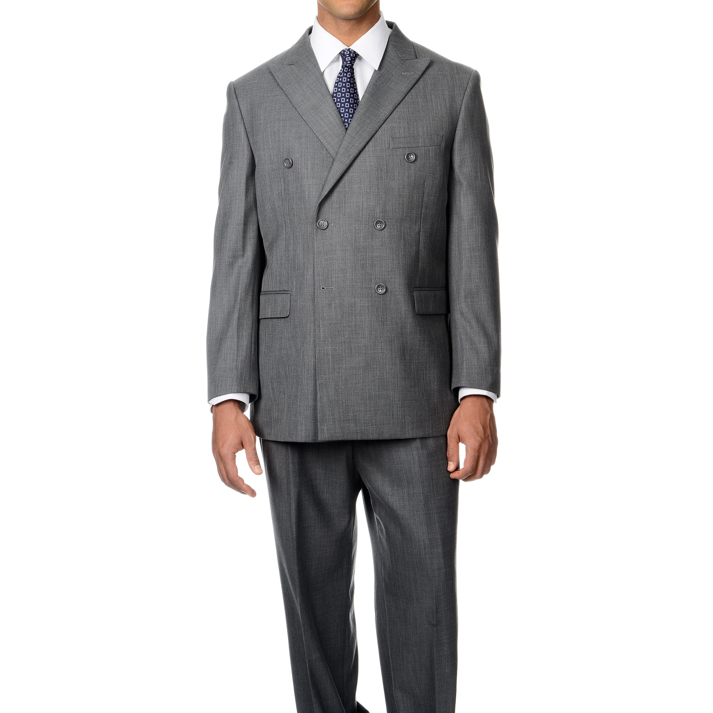 Caravelli Italy Men's 'Superior 150' Grey 6-on-2-button Double ...