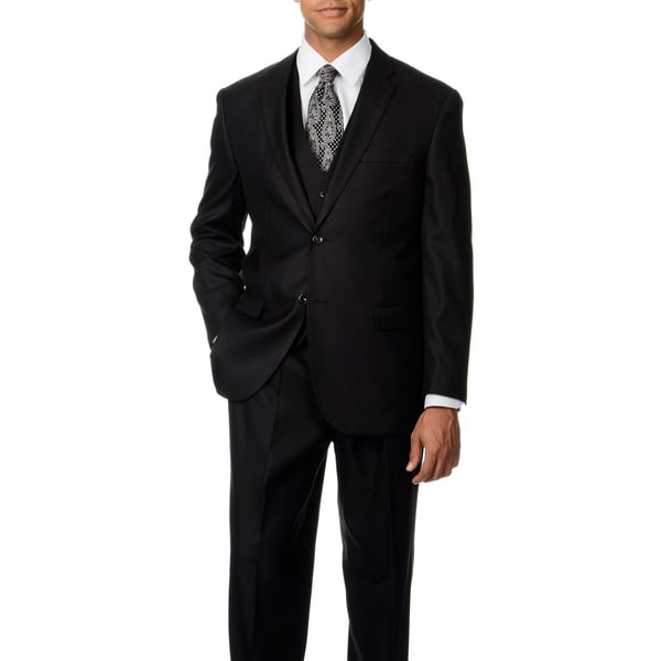 Caravelli Italy Men's Black Shark Pattern Vested 2-button Suit
