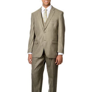 Caravelli Italy Men's 'Superior 150' Tan Shark Pattern 3-piece Vested Suit