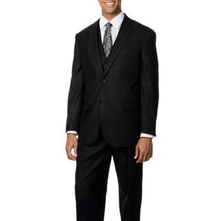 Caravelli Italy Men's 'Superior 150' Black Shark Pattern 3-piece Vested Suit