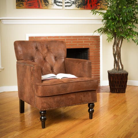 Malone Brown Tufted Club Chair by Christopher Knight Home