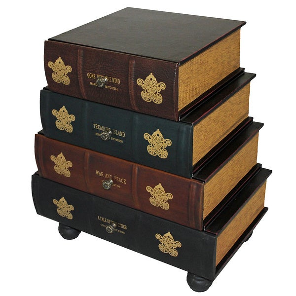 Delicieux Classic 4 Drawer Antiqued Faux Leather Book Series Chest Cabinet Accent  Table