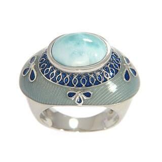 Sterling Silver Larimar with Blue/ Grey Enamel Ring