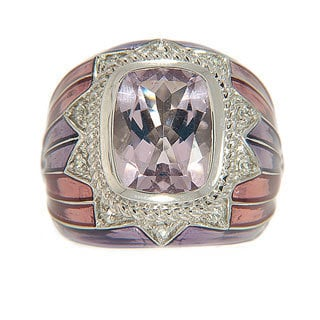 Sterling Silver Pink Amethyst with Enamel Ring