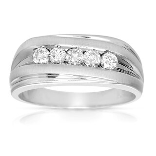 Eloquence 10k White Gold 1/2 TDW Men's Diamond Wedding Band (H-I, I2-I3)