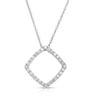 Eloquence 14k White Gold 1/2ct TDW Square Geometric Diamond Necklace (H-I, I1-I2)