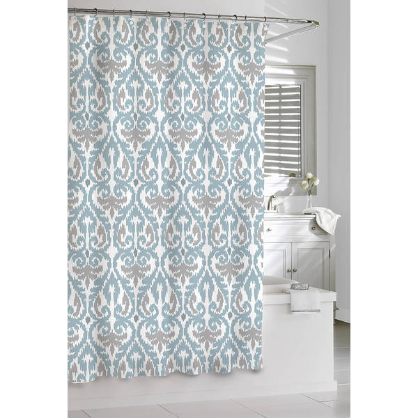 Shop Scrolled Ikat Cotton Shower Curtain