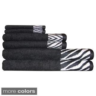 Safari Border Jacquard 6-piece Cotton Towel Sets