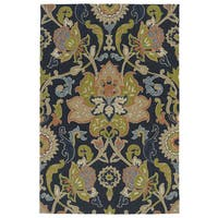 Indoor/ Outdoor Fiesta Navy Flower Rug - 2' x 3'