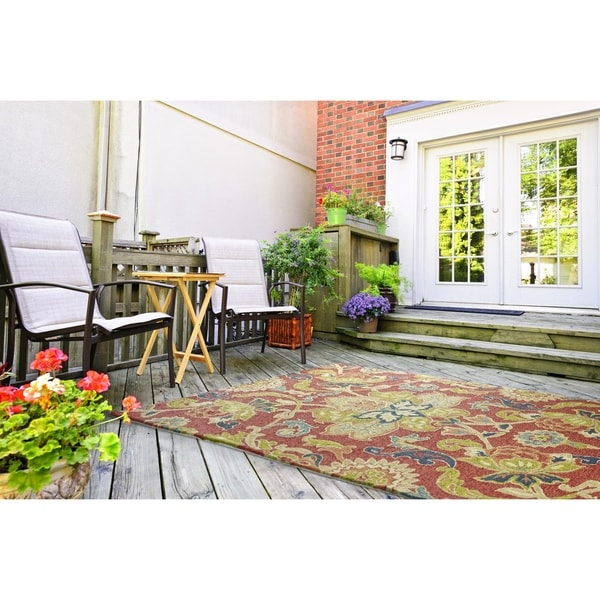 Indoor/ Outdoor Fiesta Red Flower Rug (9' x 12')