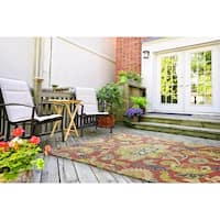 Indoor/ Outdoor Fiesta Red Flower Rug