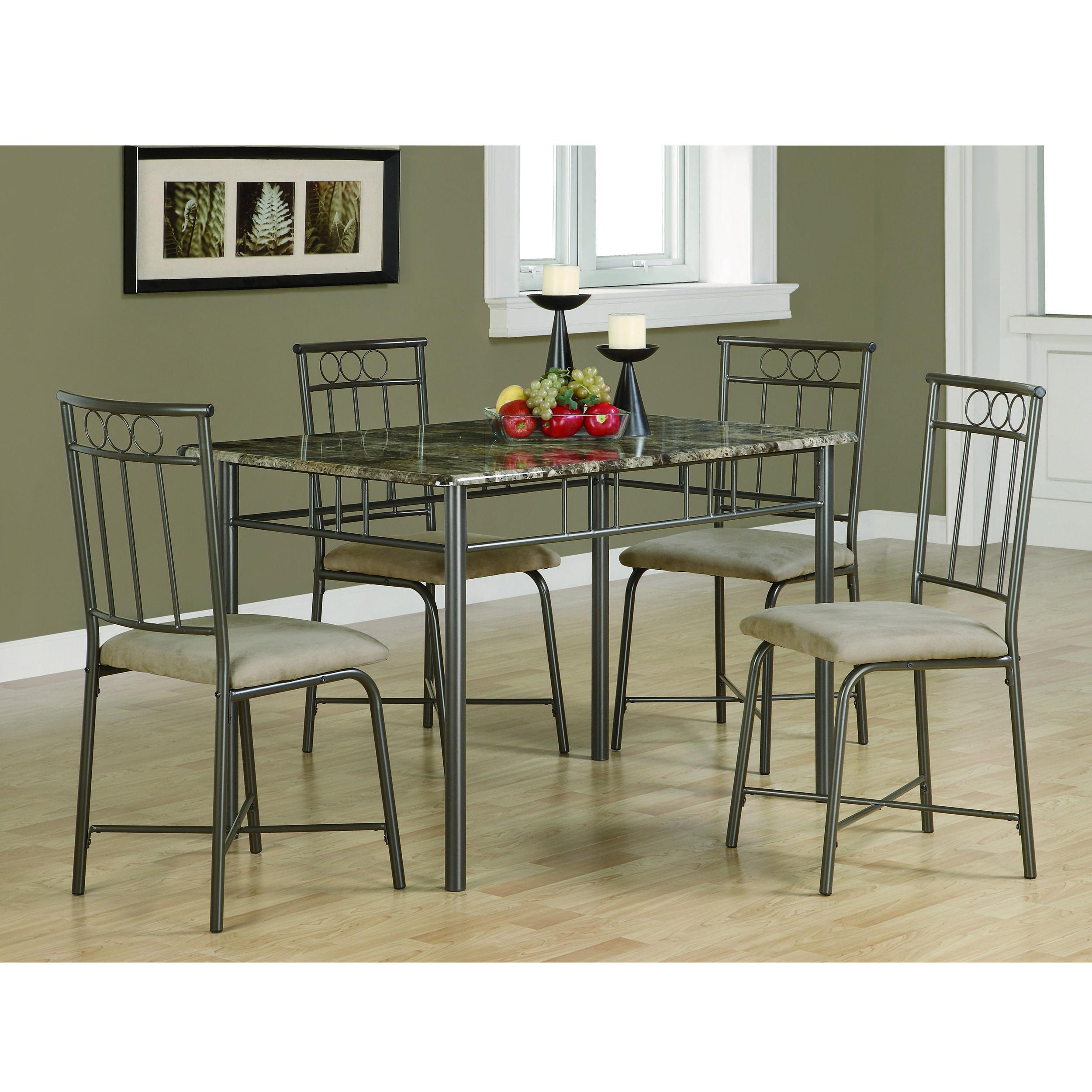 Coaster Furniture Dark Taupe/ Beige 5-piece Metal Dining ...