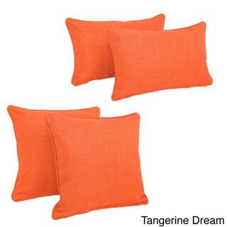 Blazing Needles Indoor/Outdoor Spun Polyester Throw Pillows (Set of 4)