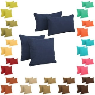 Blazing Needles Indoor/Outdoor Spun Polyester Throw Pillows (Set of 4)