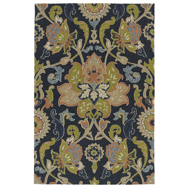 Indoor Outdoor Fiesta Navy Flower Rug 9 X 12 Free