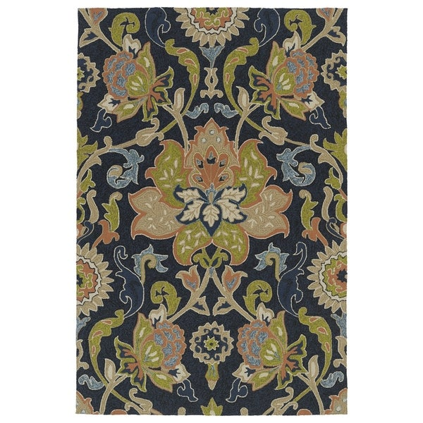 Indoor/ Outdoor Fiesta Navy Flower Rug - 9' x 12'