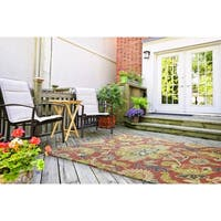 Indoor/ Outdoor Fiesta Red Flower Rug (7'6 x 9') - 7'9 x 10'10/7'6 x 9'