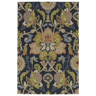 Indoor/ Outdoor Fiesta Navy Flower Rug (5' x 7'6)