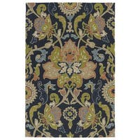 Indoor/ Outdoor Fiesta Navy Flower Rug - 7'6 x 9'