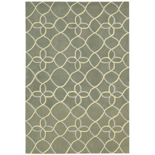 Hand-tufted Nourison Contours Light Green Rug (7'3 x 9'3)
