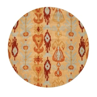 EORC Hand-tufted Wool Beige Ikat Rug (6' Round)
