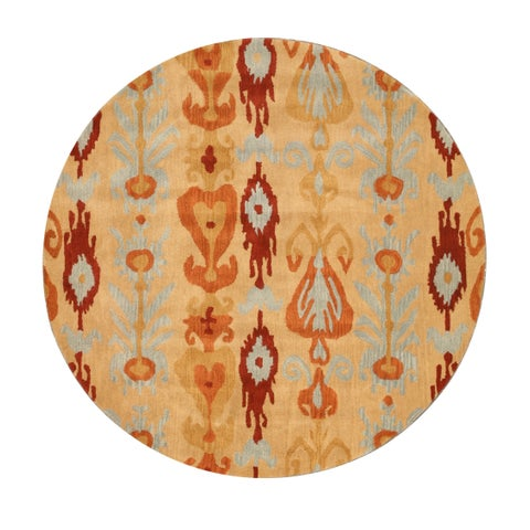Hand-tufted Wool Beige Transitional Abstract Ikat Rug - 6' Round