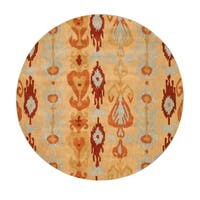 Hand-tufted Wool Beige Transitional Abstract Ikat Rug (6' Round) - 6'