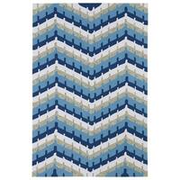 Indoor/ Outdoor Fiesta Blue Chevron Rug - 7'6 x 9'