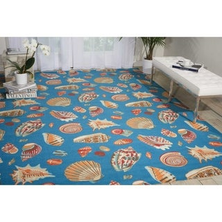 Waverly Sun N' Shade Low Tide Azure Indoor/ Outdoor Rug by Nourison (7'9 x 10'10)