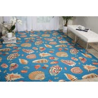 Waverly Sun N' Shade Low Tide Azure Indoor/ Outdoor Rug by Nourison - 7'9 x 10'10