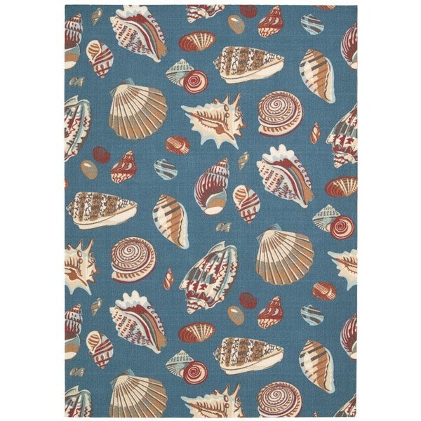 Waverly Sun N' Shade Low Tide Azure Indoor/ Outdoor Rug by Nourison (7'9 x 10'10) - 7'9 x 10'10