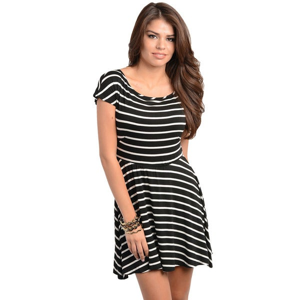 Shop The Trends Women's Black and White Striped Fit-n-flare Dress