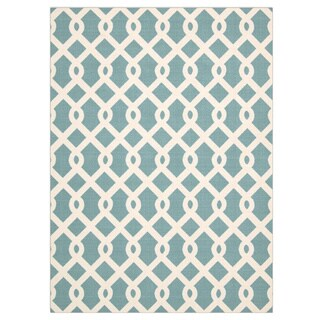 Porch & Den Greenpoint Calyer Blue/ Ivory Poolside Indoor/ Outdoor Area Rug (7'9 x 10'10)